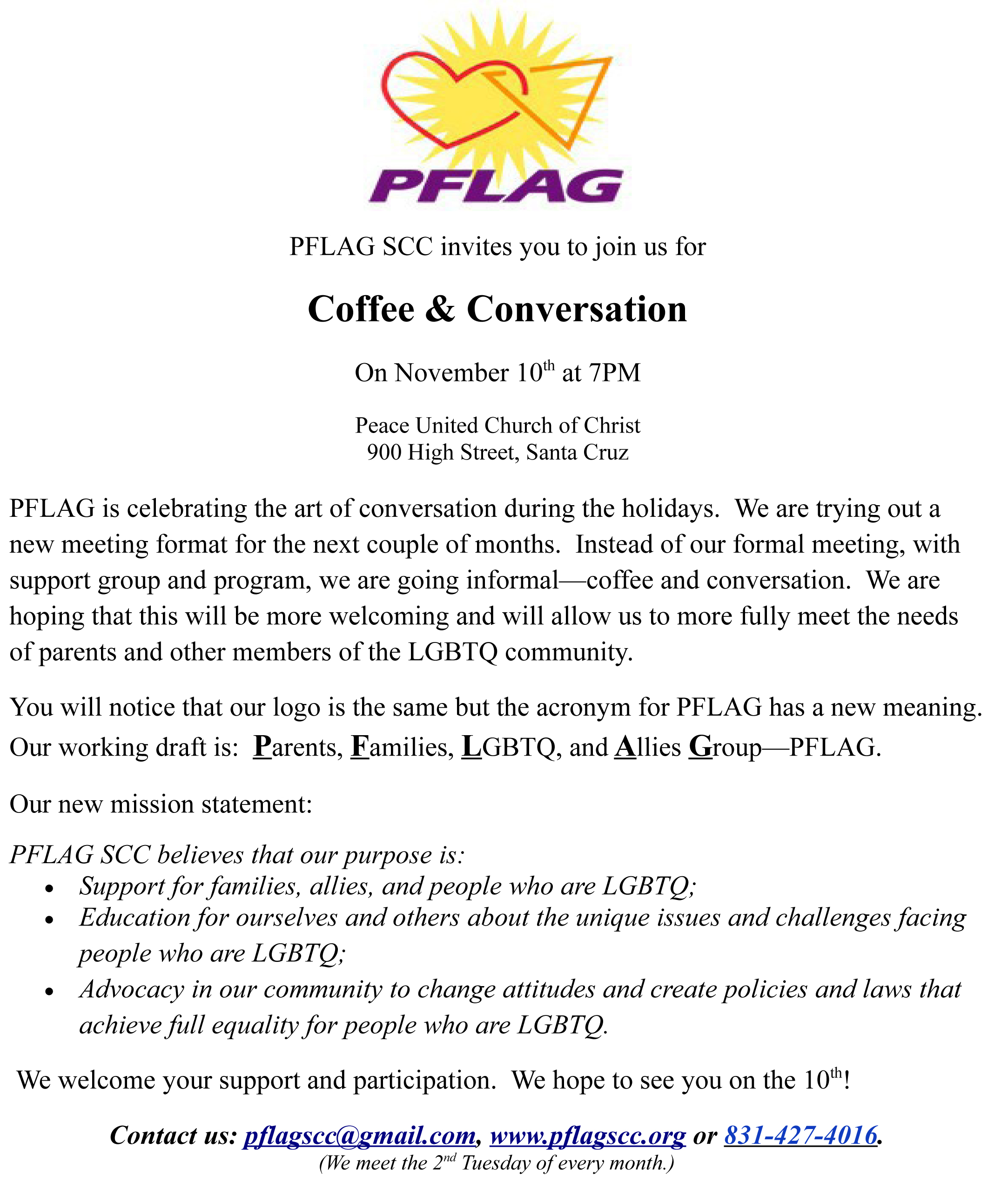 Reminder pflag scc invites you to join us for coffee reminder pflag scc invites you to join us for coffee conversation november 10 stopboris Gallery